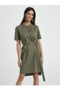 Льняное платье-рубашка цвета хаки Ennywear 250001