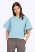 Голубая блузка с коротким широким рукавом Emka B2202/harper