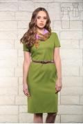 Зелёное льняное платье Issi 171526 (коллекция 2017)