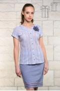 Голубая женская рубашка в полоску Issi 171170