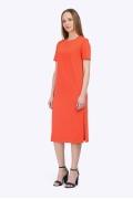 Летнее оранжевое платье с с короткими рукавами Emka PL514/gato