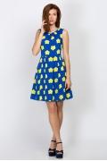 Синее платье в жёлтый цветов Emka Fashion PL-456/nona