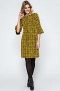 Жёлто-чёрное осеннее платье Enny 240034
