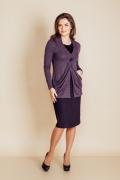 Юбка из черно-фиолетовой фактурной ткани TopDesign B6 094