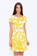 Летнее бело-жёлтое платье из льна Emka PL-498/aksiniya