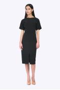 Чёрное платье-футляр с разрезом спереди Emka PL593/premiera