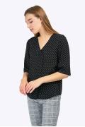 Лёгкая блузка в мелкий белый горошек Emka B2293/cute