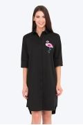 Чёрное платье-рубашка с фламинго Emka PL-680/selita