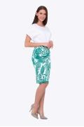 Бело-зелёная летняя юбка-карандаш Emka 663/ansoniya