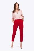 Красные укороченные брюки с высокой посадкой Emka D109/saltar