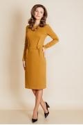 Платье горчичного цвета с длинным рукавом TopDesign B6 051