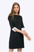 Чёрное платье с белыми манжетами на рукавах Emka PL764/rudeni