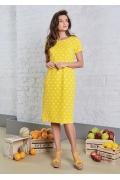Летнее жёлтое платье в белый горох TopDesign A8 095