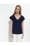 Синяя блузка с кружевными плечами Sunwear I49-2-30