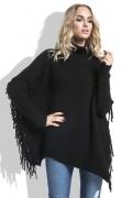 Чёрный женский свитер с бахромой Fimfi I222