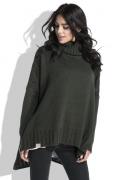 Свободный женский свитер оливкового цвета Fobya F455