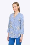 Блузка с V-образным вырезом в синюю полоску Emka B2218/hope