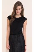 Чёрная блузка с серебристой отстрочкой Zaps Vivian