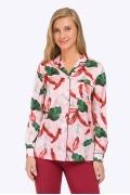 Розовая блузка с растительным орнаментом Emka B2329/lamale