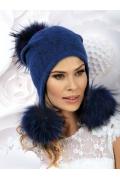 Женская шапка-ушанка с большими помпонами Willi Betula