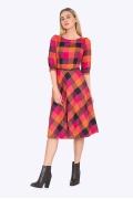 Платье в клетку Emka PL407/disney (осень 2017)