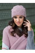 Розовая шапка ажурной вязки Kamea Paula