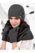 Женская шапка по голове графитового цвета Kamea Corato