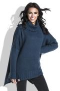Свободный женский свитер тёмно-синего цвета Fobya F455