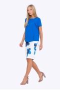 Белая юбка-карандаш с синими цветами Emka 663-1/renata