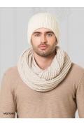 Недорогая мужская шапка молочного цвета Landre Вена