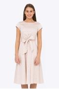 Бежевое платье в белый горох Emka PL-600/manuila