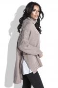 Свободный женский свитер коричневого цвета Fobya F455