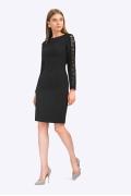 Чёрное платье с кружевными рукавами Emka PL860/premiera