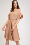 Бежевое платье в полоску из люрекса Emka PL878/andrea