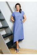 Летнее трикотажное платье с асимметричным низом TopDesign A7 078