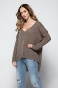 Коричневый асимметричный свитер оверсайз Fimfi I243