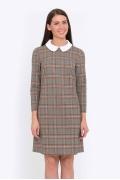 Клетчатое платье с белым ворот- ничком Emka Fashion PL-527/viola