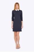 Офисное тёмно-синее платье с белым воротником Emka PL-440/april