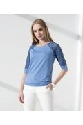 Синяя блузка с кружевными рукавами Sunwear I59-4