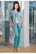 Лёгкий летний жакет голубого цвета TopDesign Premium PA7 19