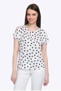 Белая блузка в чёрный горох блузка с коротким рукавом Emka B2316/swanky
