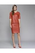 Красная кожаная юбка Zaps Oris