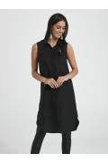 Чёрное летнее платье-рубашка без рукавов Ennywear 250006