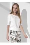 Летняя белая блузка с вышивкой в виде цветка Sunwear I64-3-08