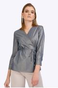 Блузка с запахом в тонкую золотую полоску Emka B2379/marusia