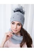 Комплект женская шапка с помпон и снуд Veilo 70.20S