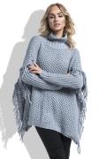 Теплый свитер оверсайз с бахромой Fimfi I222