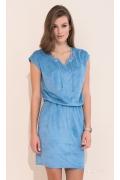 Летнее молодёжное платье под замшу синего цвета Zaps Ami