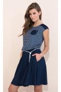 Летнее платье в тёмно-синюю клетку Zaps Delfina