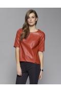 Красная кожаная блузка Zaps Basso